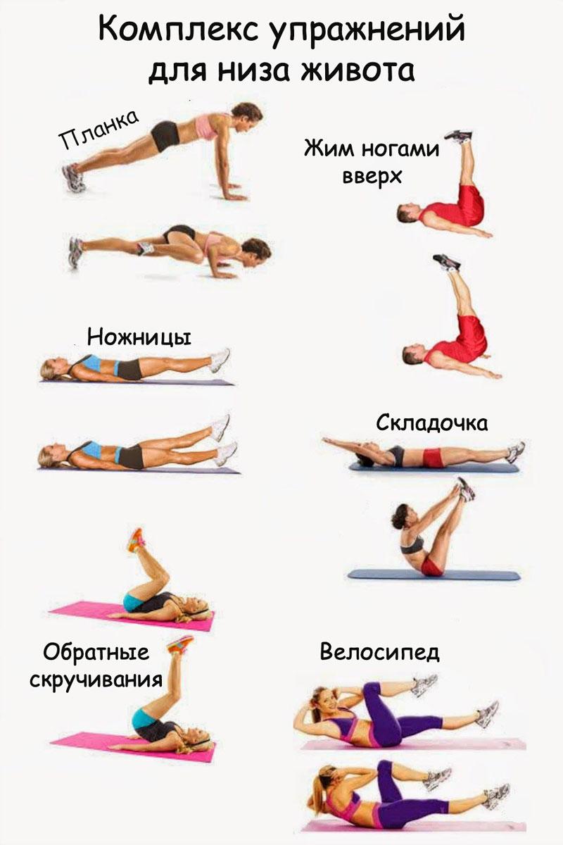 Упражнения на нижнюю часть живота в картинках